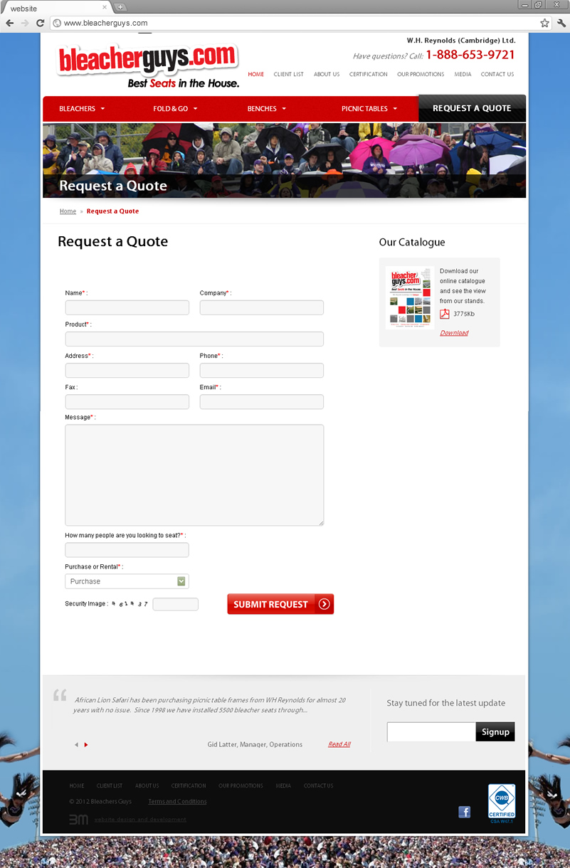 Request form page