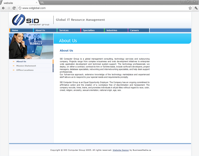 Corporate Website Design and Development for SID Global