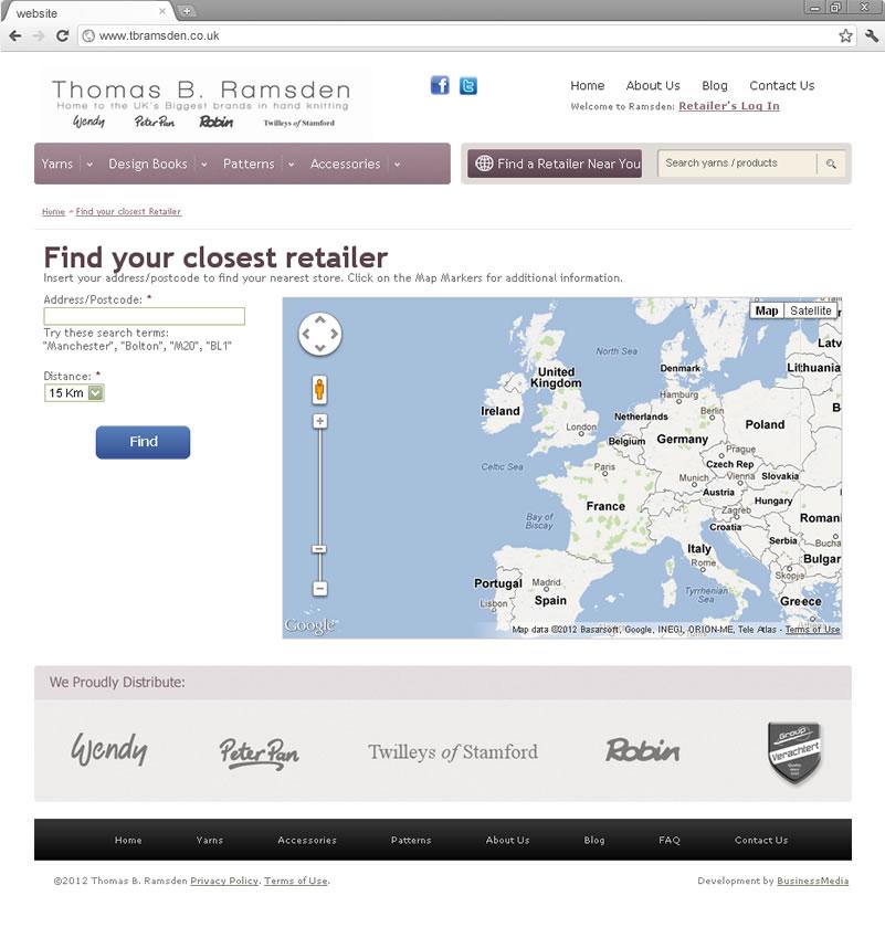 Find a retailer page