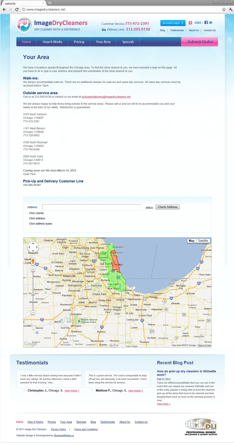 Your Area page