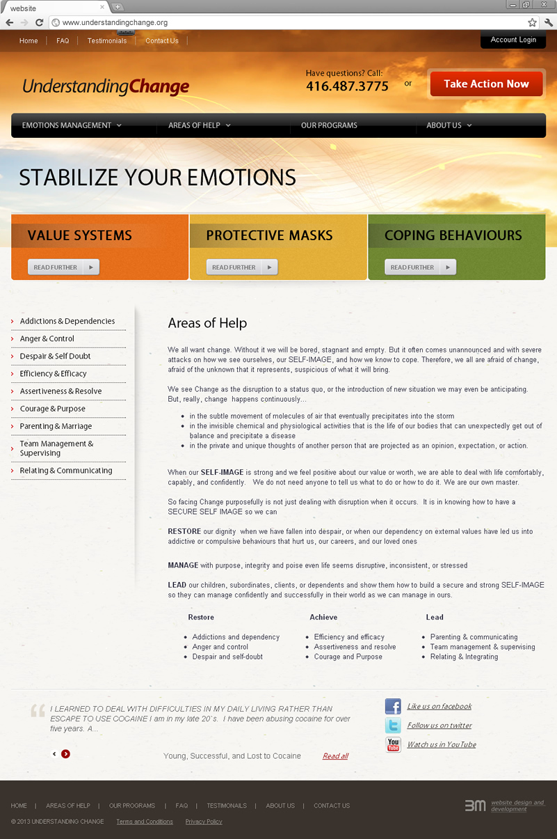 Areas of help page