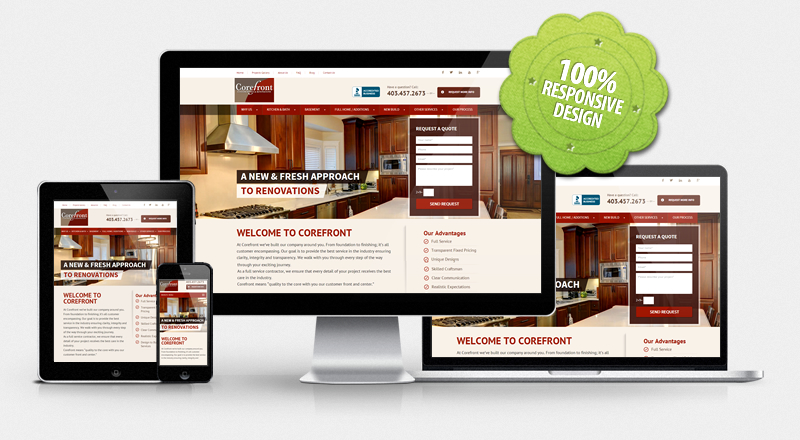 Website for Corefront Custom Homes & Renovations