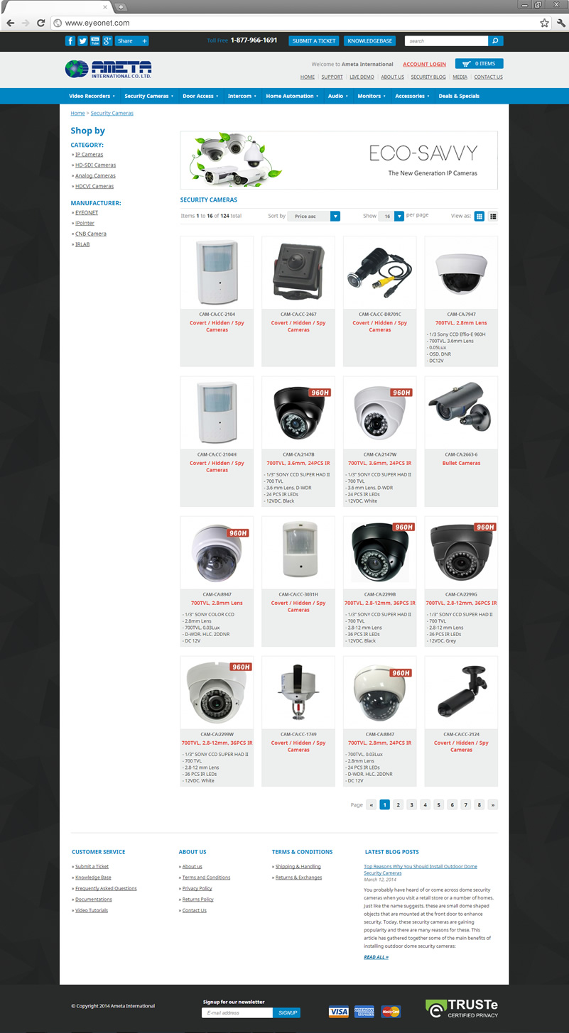 Products List page
